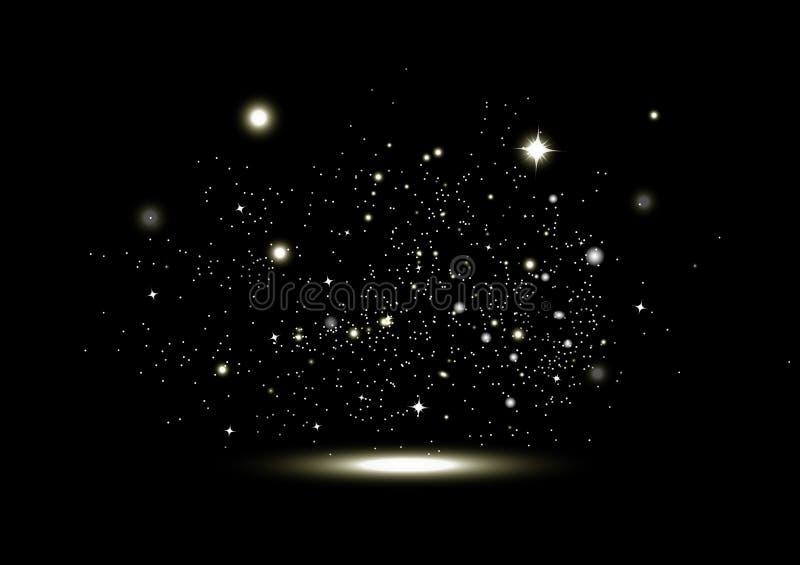 Guld- stjärnor som glöder, fantasimirakel, gnistrande, vektor för ferie för julabstrakt begreppbakgrund säsongsbetonad royaltyfri illustrationer