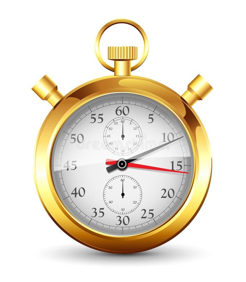 guld- stopwatch vektor illustrationer