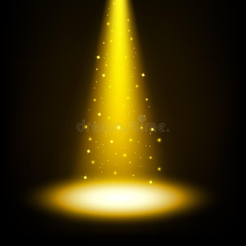 Guld- strålkastare som skiner med stänk vektor illustrationer