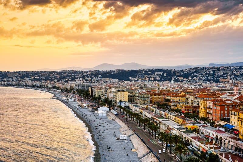 Guld- strand av Nice, Frankrike arkivfoto