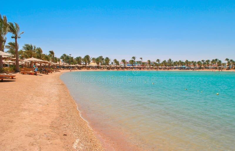 Guld- strand i Hurghada, Egypten royaltyfria foton