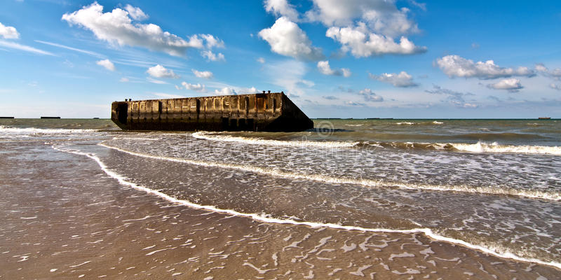 Guld- strand Normandie fotografering för bildbyråer