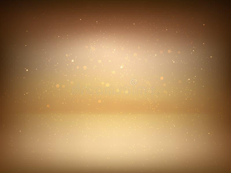 Guld- studiobakgrund med strålkastarelutning och blänker gnistor för högvärdig lyxig produktskytte stock illustrationer
