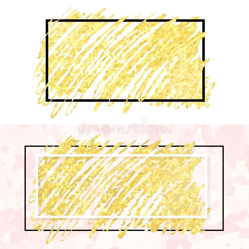 Guld- sudd och ram vektor illustrationer