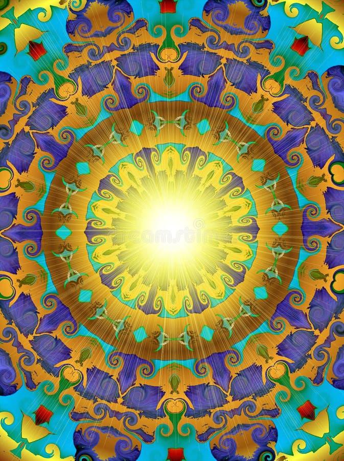 guld- sun stock illustrationer