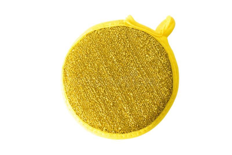 Guld- svamp för att göra ren som isoleras på vit royaltyfri bild