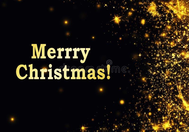 Guld svart jul eller nyårshus med glitter, snöflingor, stjärnor, bågljus, fin mörk bakgrund royaltyfri illustrationer