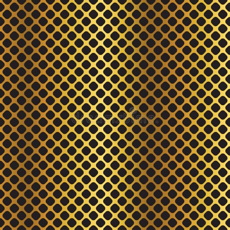 Guld- svart metallisk diagonal rasterbakgrund royaltyfri illustrationer