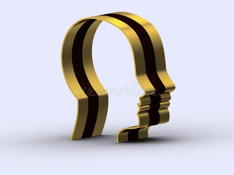 Guld- svart tillstånd för mänsklig framsida av meningen arkivbilder