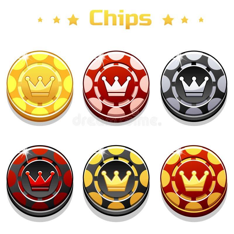 Guld-, svarta och röda pokerchiper för vektor på den vita bakgrunden royaltyfri illustrationer