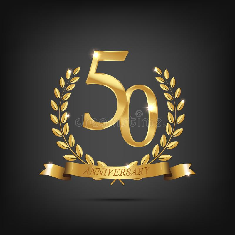 guld- symbol för 50 årsdag Guld- lagerkransar med band och årssymbol för femtio årsdag på mörk bakgrund stock illustrationer