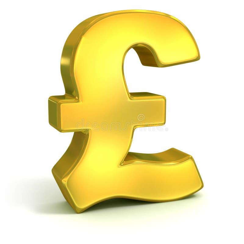 Guld- symbol för brittiskt pund 3d vektor illustrationer