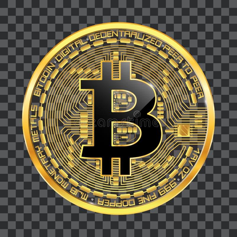 Guld- symbol för Crypto valutabitcoin royaltyfri illustrationer