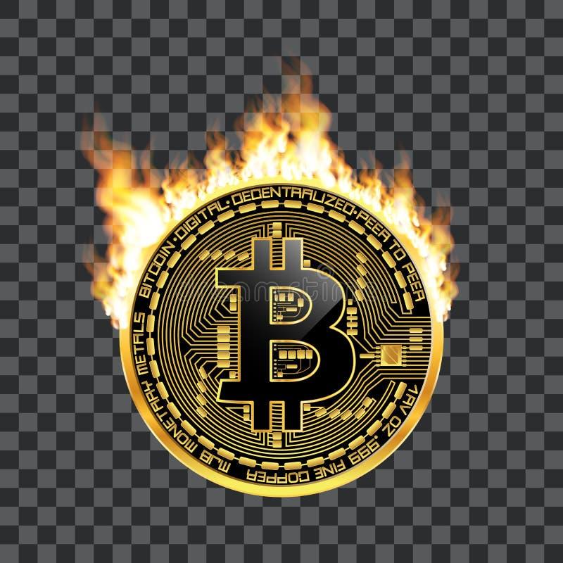 Guld- symbol för Crypto valutabitcoin på brand vektor illustrationer