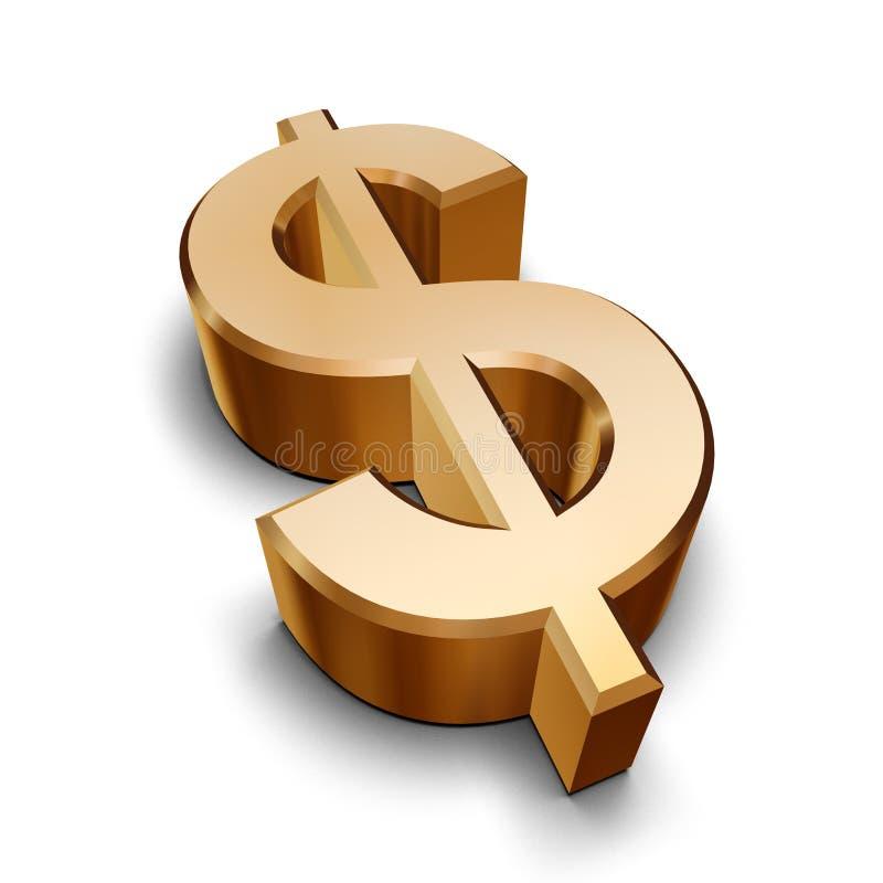 guld- symbol för dollar 3d royaltyfri illustrationer