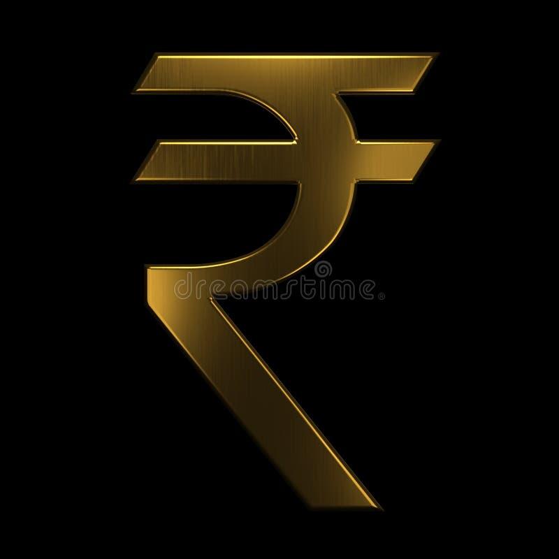 Guld- symbol för indisk rupie 3d som fäster den lätta redigerande mappillustrationen ihop, inkluderade banaframförandet royaltyfri illustrationer