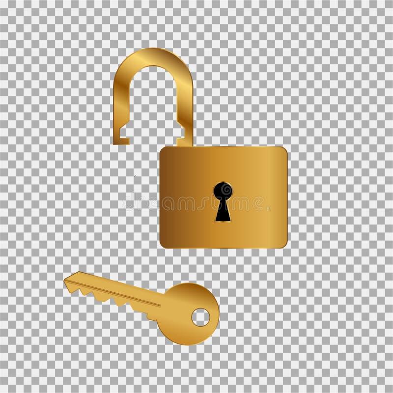 Guld- symbol för låstangent på den gråa bakgrunden vektor illustrationer