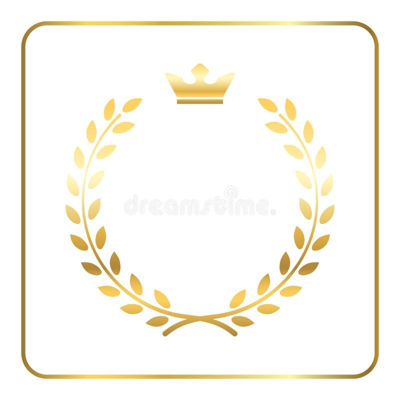 Guld- symbol för lagervetekrans royaltyfri illustrationer