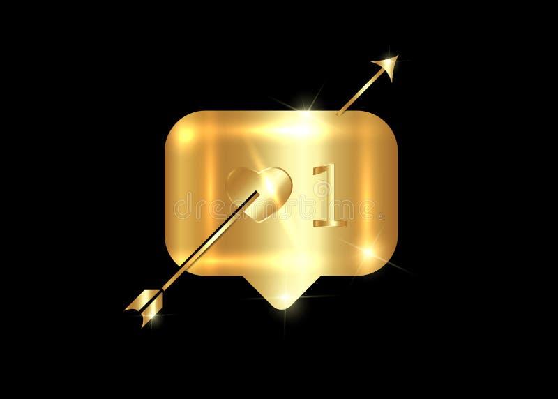 Guld- symbol med pilen, vektor som isoleras på svart bakgrund Valentins dagbegreppet, gillar, älskar, ett, guld- knapp stock illustrationer