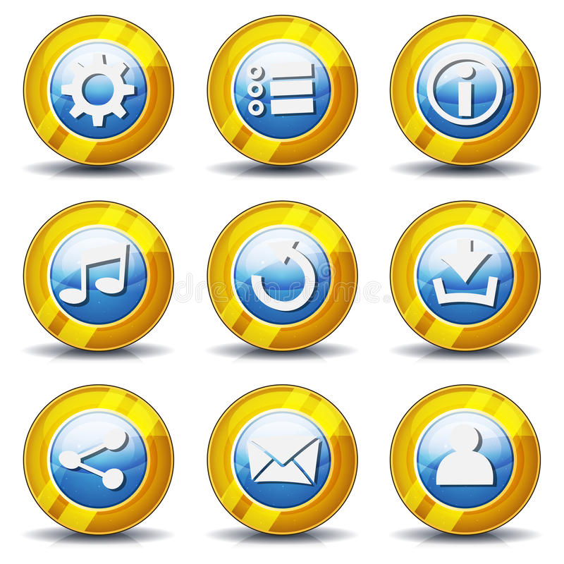Guld- symboler för den Ui leken stock illustrationer
