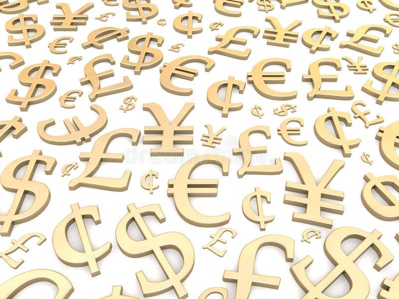 guld- symboler för valuta stock illustrationer