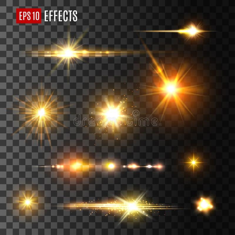 Guld- symboler för vektor för ljus för ljusexponerings- eller stjärnasken royaltyfri illustrationer