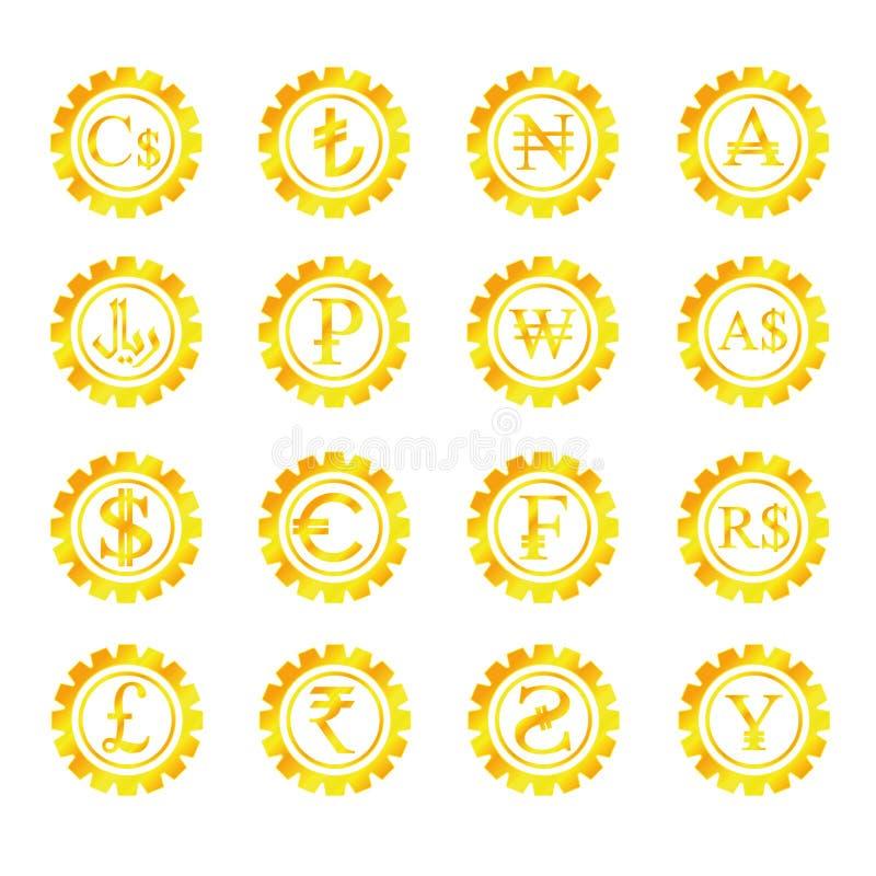 Guld- symbolpengar vektor illustrationer
