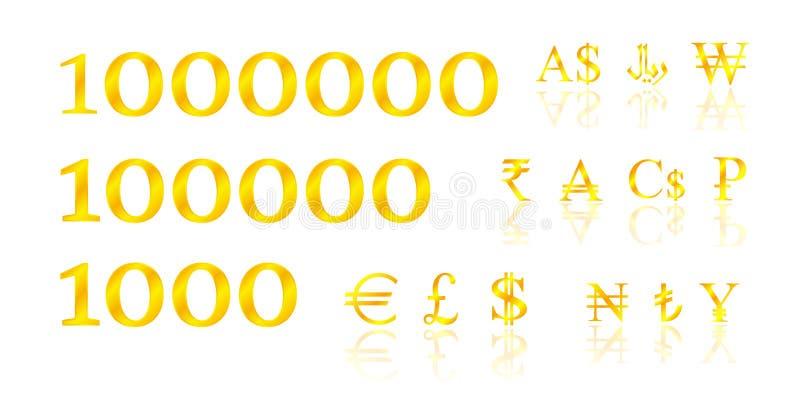 Guld- symbolpengar royaltyfri illustrationer