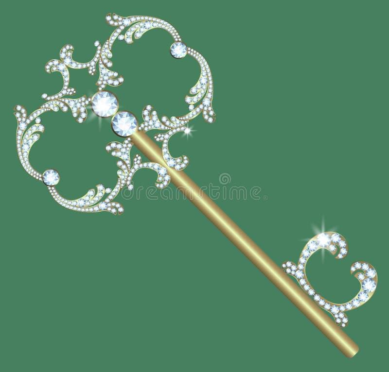 Guld- tangent med diamanter royaltyfri illustrationer