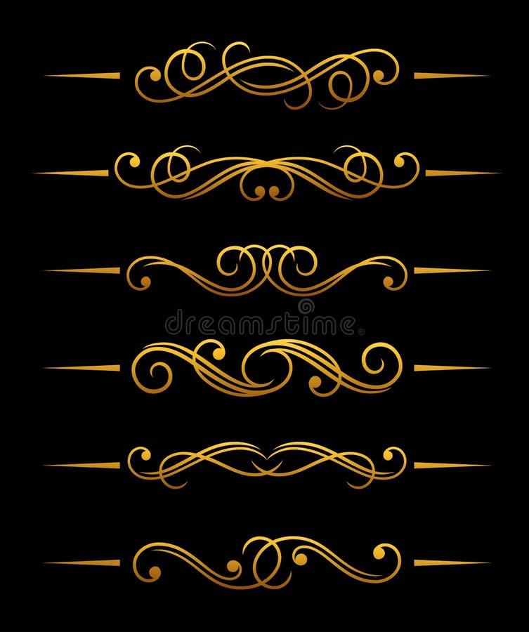 guld- tappning för avdelare royaltyfri illustrationer