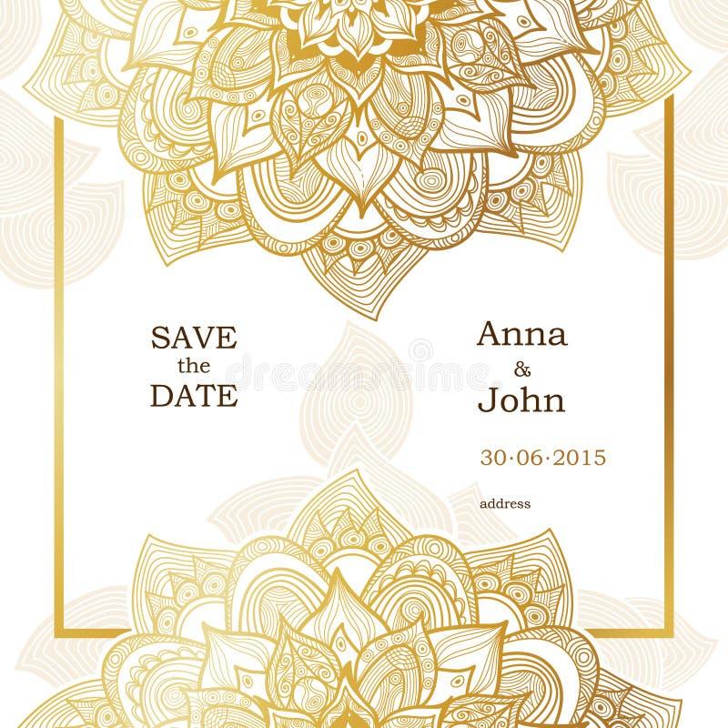 Guld- tappningkort i östlig stil royaltyfri illustrationer