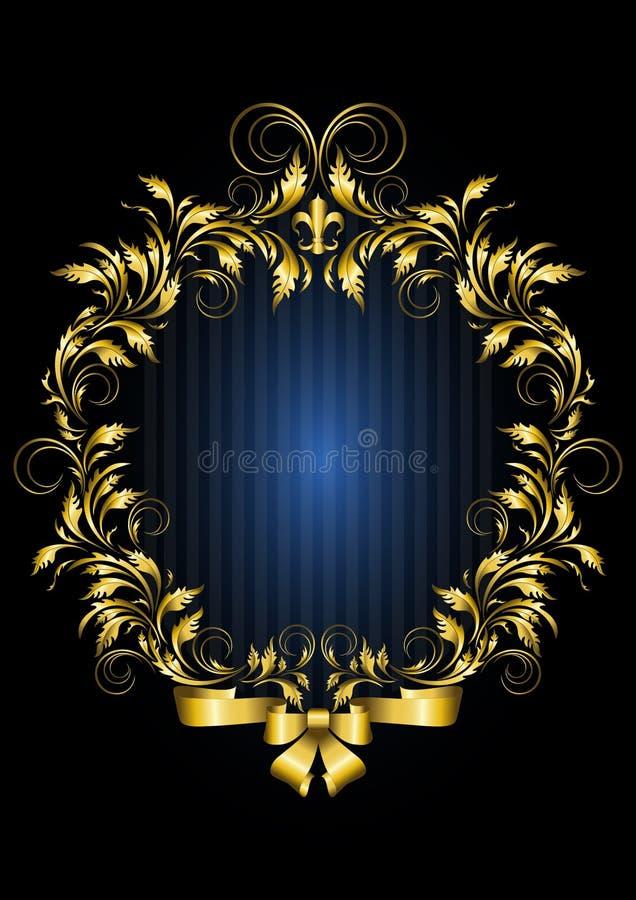Guld- tappningram med bakgrund för blåa band stock illustrationer