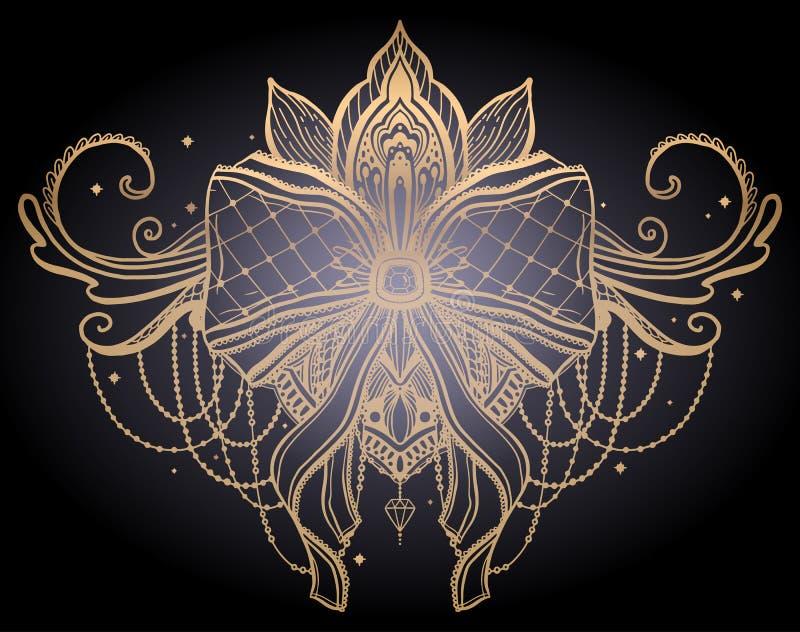 Guld- tatueringmotiv för gotisk pilbåge Guld- f?rgdiagram i svart bakgrund royaltyfri illustrationer