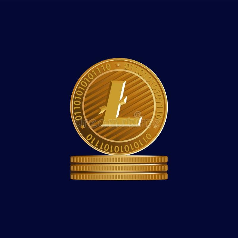 Guld- tecken av crypto valuta Litecoin stock illustrationer