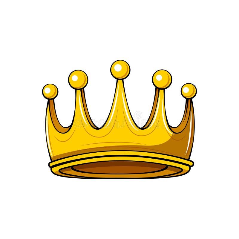 Guld- tecknad filmkrona förse med märke kunglig person Konungsymbol Drottningtecken vektor för bild för designelementillustration royaltyfri illustrationer