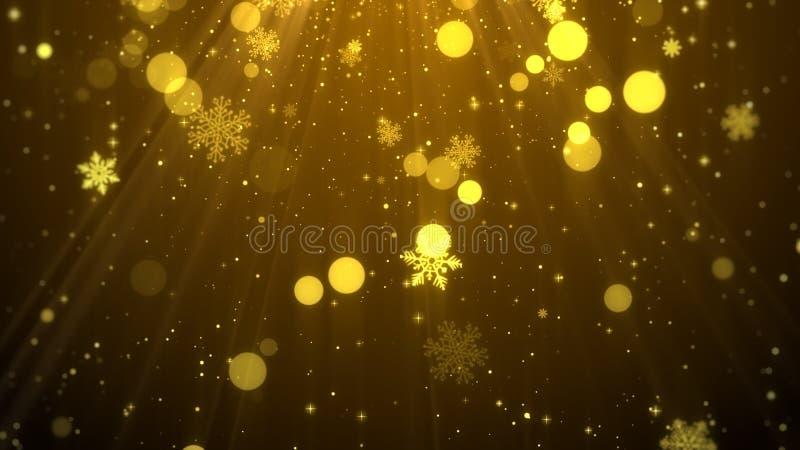 Guld- tema för julbakgrund med snöflingor, skinande ljus i elegant royaltyfri illustrationer
