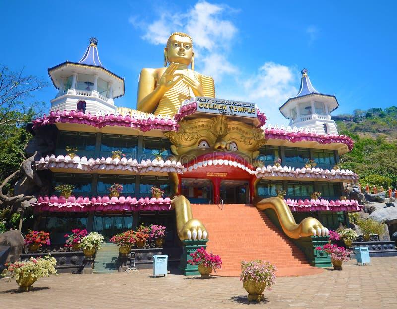 Guld- tempel i Dambulla Sri Lanka arkivbild