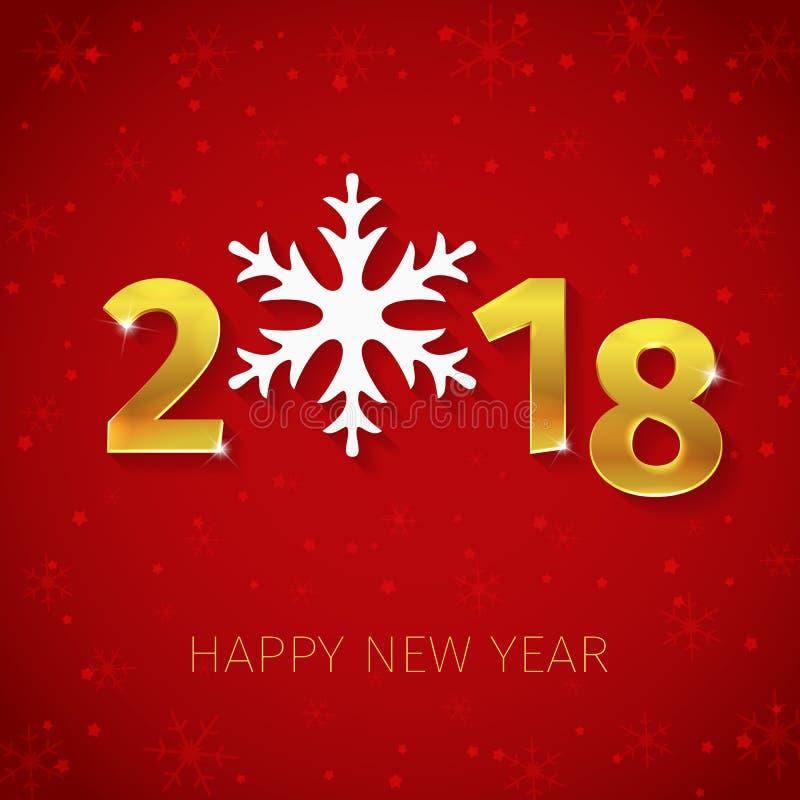 2018 guld- text 3D för lyckligt nytt år med silversnöflingan på den röda vinterbakgrunden med snöflingakonturer och stjärnor royaltyfri illustrationer