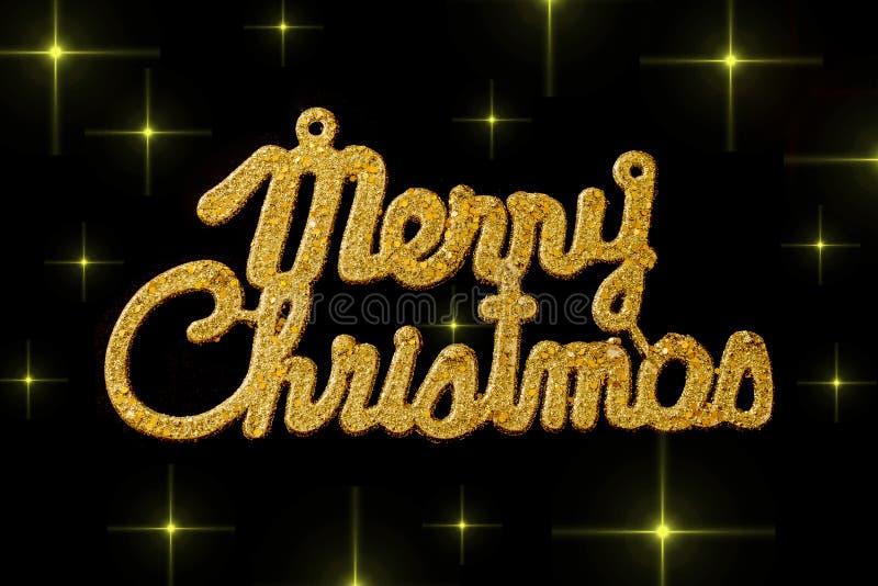 Guld- text för glad jul på en svart bakgrund med stjärnor royaltyfri illustrationer