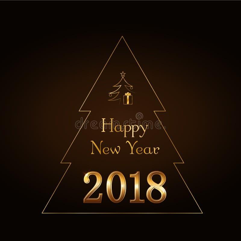 Guld- text för lyckligt nytt år i julgran bakgrundsfärger semestrar röd yellow Glad julkort, guld- nummer 2018 Design för vektor illustrationer