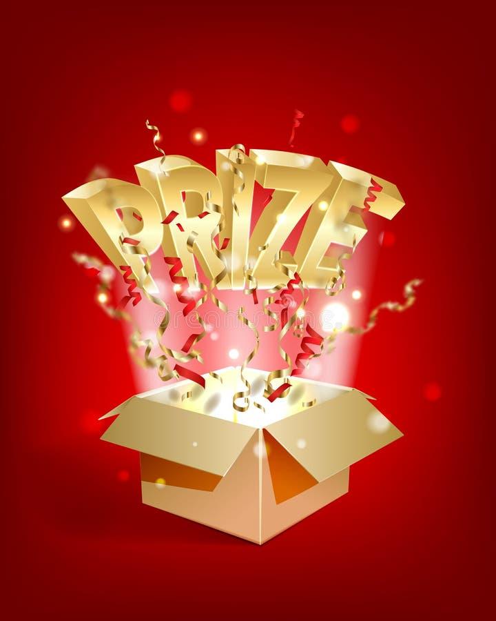 Guld- text för PRIS Open texturerad ask med konfettiexplosion inom och guld- segra ord vektor illustrationer