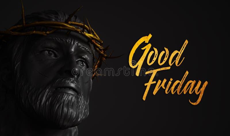 Guld- text Jesus Christ Statue för långfredag med kronan av taggar 3 stock illustrationer