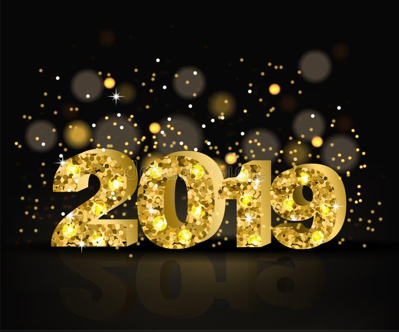 2019 guld- text med blänker vektorn Mall för lyckligt nytt år Glad julkort Skinande textbokehbakgrunder stock illustrationer