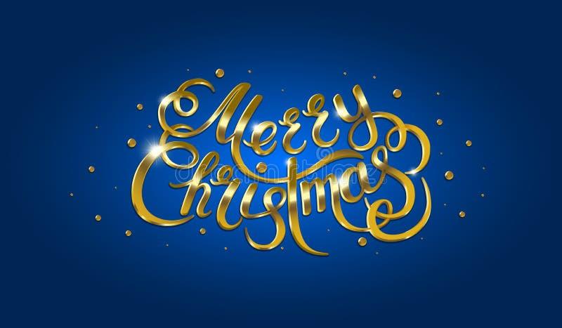Guld- text på blå bakgrund Glad jul och lycklig bokstäver för nytt år royaltyfri illustrationer