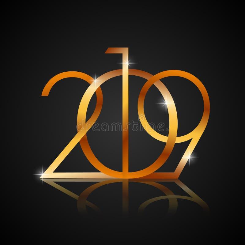 Guld- textdesign för lyckligt nytt år 2019 för ditt reklamblad och hälsningskort Gult nummer på svart bakgrund vektor stock illustrationer