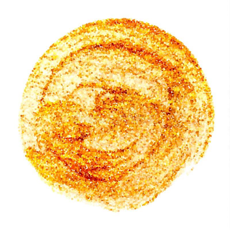 Guld- textur för cirkel Abstrakt vektor som blänker konstillustrationen Guld- hand målad suddslaglängdfläck vektor illustrationer