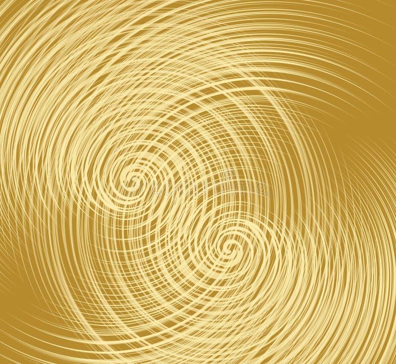 Guld- textur med överlappning fint av spiral formar, dekorativ metallisk textur stock illustrationer