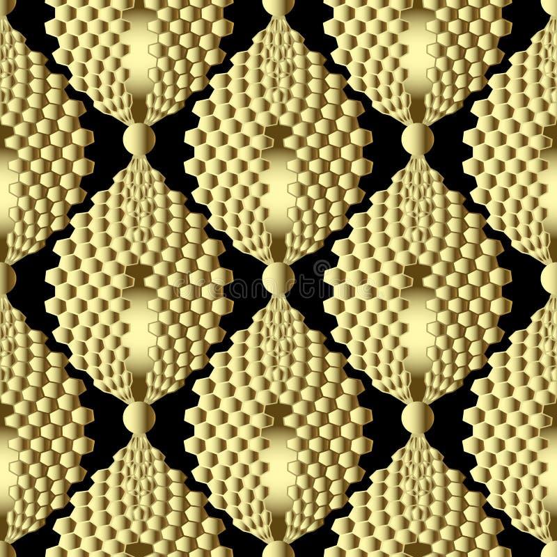 Guld- texturerad modell f?r vektor f?r celler 3d s?ml?s Modern abstrakt honungskakabakgrund Dekorativ backdtop f?r dekorativ repe royaltyfri illustrationer