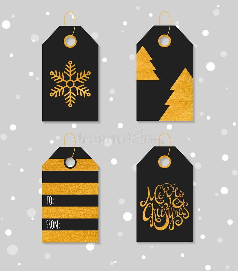 Guld texturerade festliga gåvaetiketter stock illustrationer