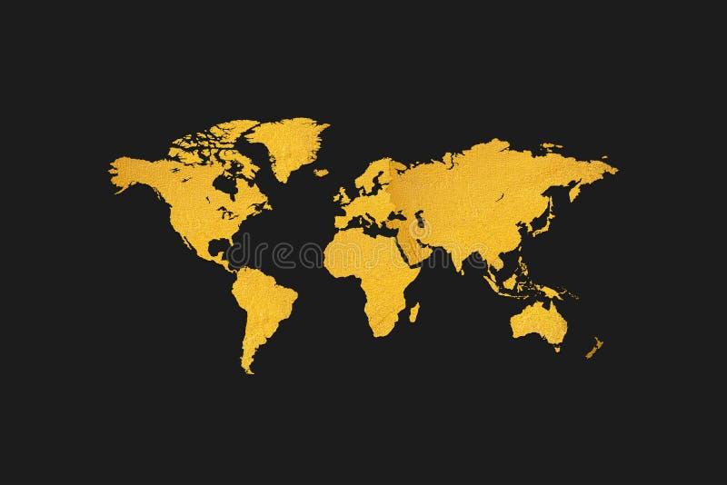 Guld- texturvärldskartadesign på svart bakgrund royaltyfri illustrationer